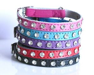 Cat Collar Real Leather Diamante Crystals, Kitten Safety Elastic Bell 5 colours