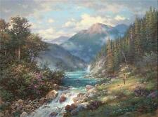"Larry Dyke ""The Fisherman"" Mountain Stream Print W Cert SN 24"" x 18"""