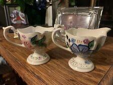 2 Pc Vintage Blue Ridge China Floral Creamer & Sugar Bowl