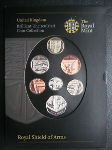UK 2008 UNC Coin Set from Penny to £1 Pound ~ Royal Shield Of Arms ~ Royal Mint