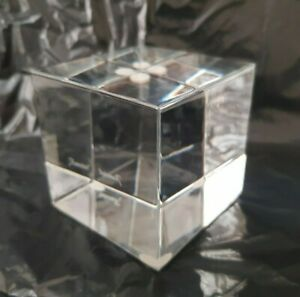Rare Baccarat France Solid Glass Square Cube Paperweight