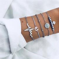 5PCS Women Bracelet Silver Crystal Elegant Charming Jewelry Bracelet Set Gift
