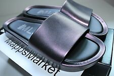 NIB Authentic MELISSA Women's Beach Slide Sandal in Red Wine Iridescent Sz 6 $85