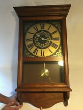 "Vintage Cornwall  Wooden Westminster Chime Battery Pendulum Wall Clock 30"" Tall"