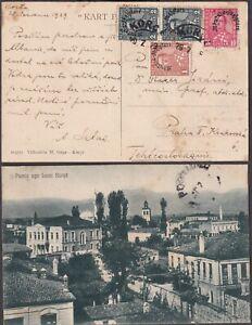1929 ALBANIA PPC KORCE unusual mixed OVERPRINTS