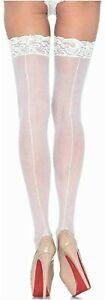 WHITE SEAMED SHEER 15 DENIER NYLON NUDE FOOT LACY TOP STOCKINGS
