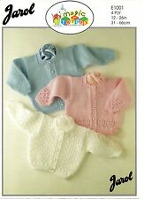 "Jarol 1001 Vintage Baby Knitting Pattern Cardigans 4 ply 12-26"" Prem - 7 years"