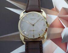 Vintage 1950 Men's Longines Solid 14K Gold HoneyComb Dial Fancy Case Wristwatch