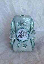 I love you to the Moon and Back Hand Carved Turquoise Candle