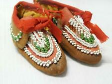 ANTIQUE VICTORIAN ERA IROQUOIS INDIAN BEADED BABY MOCCASINS - NEVER WORN 1880s