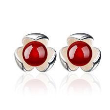 Beautiful Silver & Burgundy Red Agate Flower Small Cute Stud Earrings E1103