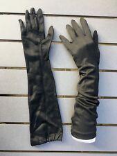 "Vintage woman's evening dress gloves elbow length black nylon sz 6 1/2 15 3/4"""