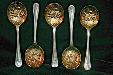 5 Vintage Sheffield England Berry Spoons Gold Wash Kings Pattern Silver Plated