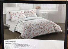 DKNY Pink Gray White Floral GARDEN SPLASH 3pcs KING DUVET Cover + SHAMS Set