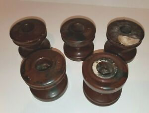 """VINTAGE 3"""" CERAMIC ELECTRIC UTILITY NATIONAL 101 INSULATOR LOT5 DARK BROWN AS-IS"""