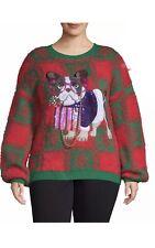 Fashion French Bulldog Dog Ugly Christmas Sweater 1X 16/18 Sequins Beads Nwt