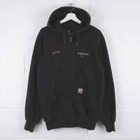 Vintage CARHARTT Black Rain Defender Zip Up Hoodie Jacket Size Mens Small /R1021