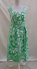 Laura Ashley green/white floral lined sleeveless 100% Cotton dress Size 10