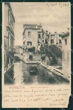 Venezia Città Rio Sant'Agostini Gondola ABRASA cartolina XB5068