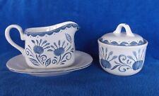 CORELLE Corning Ware OCEANVIEW White Blue Swirls Gravy Boat Sugar Bowl Cream EUC