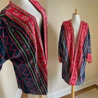 VTG Handwoven Fiber Art Cocoon Coat Oversized Patchwork Duster Kimono Jacket
