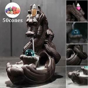 Dragon Ceramic Waterfall Backflow Dragon Incense Burner Censer Decor+100Cones