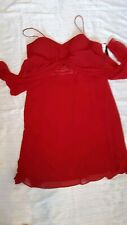 S.L. Fashions NWT Red Dress 18 Halter Satin Ruched Waist Cocktail Himulti Illusi