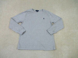 Ralph Lauren Polo Shirt Youth Large Gray Blue Pony Long Sleeve Cotton Kids Boy *