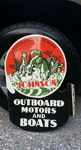 JOHNSON OUTBOARD BOAT MOTORS flange porcelain metal sign vintage MARINE GASOLINE