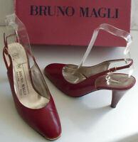 BRUNO MAGLI Designer Red Ankle Strap Heels Pump Court Shoes Size EU 36 UK 3