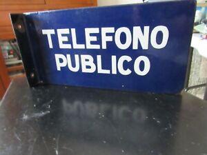 VINTAGE  PUBLIC  TELEPHONE CABIN SIGN -ARGENTINA 1940<s- PORCELAIN & STEEL =13 1