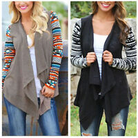 Women Cardigan Loose Sweater Long Sleeve Knitted Waterfall Outwear Jacket Coats