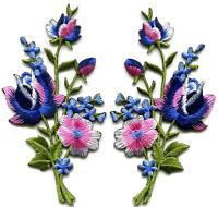 Navy blue pink roses flowers embroidered appliques iron-on patches pair S-986