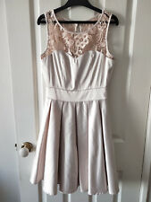 Review Champagne Floral Lace Pleated Formal Dress Size 6
