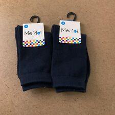 Memoi Youth Shoe Size 1-2.5 Navy Cotton Crew Socks MK-5104 2 Pair NWT