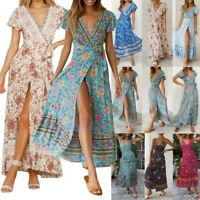 Women Wrap Summer Boho Floral Maxi Print Dress Ladies Holiday Beach Kaftan Dress