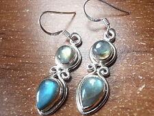 Labradorite Teardrop and Round Double Gem 925 Sterling Silver Dangle Earrings