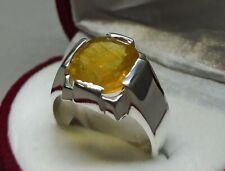 Ceylon Natural Yellow Sapphire Sterling Silver 925 Handmade Pukhraj Mens Ring