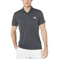 Adidas Men's Collared Short Sleeve  Solid Club Tennis Polo Shirt (Gray, L)