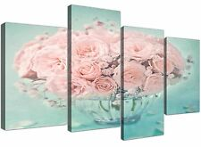 Large Duck Egg Blue and Pink Roses Flower Floral Canvas Split 4 Piece - 4287