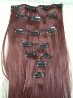 """cherry red 7 pcs set straight 20"""" long clip in on hair extension heat resist"""