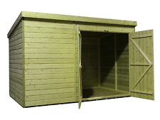 Garden Shed 10x4 Pent Shed Pressure Treated Tongue and Groove Double Door Right