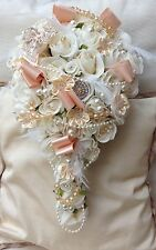 IVORY PEACH  VINTAGE BOUQUET BRIDE BROOCH PEARLS FEATHERS CRYSTAL WEDDING FLOWER