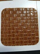 """3 PAK Brown Basketweave leather Craft Piece 4.5"""" x 4.5""""  P18 3 PAK FREE SHIPPING"""