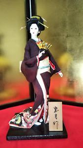 "Antique Japanese Geisha Doll in Kimono on wooden base 18""  BEAUTIFUL SUKIYO"