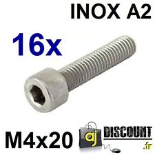 16x Vis CHC (BTR) - M4x20 - INOX A2 - DIN 912 - 6 pans creux