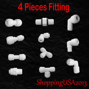 """4 Pcs Water Filter Connector Fitting Quick Connect Thread Push In 1/4"""" 3/8"""" BSP"""
