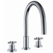 Bathroom 3 TH Hole Chrome Basin Bath Mixer Tap Three Swan Cross Head Modern