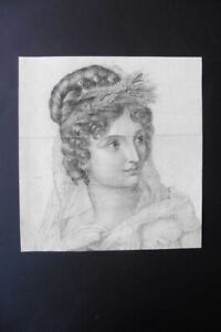 FRENCH SCHOOL CA. 1810 - FINE PORTRAIT OF A LADY - CHARCOAL DRAWING