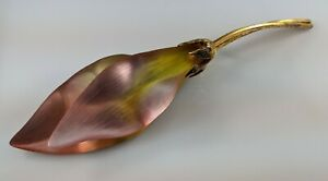 """Large Alexis Bittar Carved Lucite Leaf Flower Pin Brooch Huge Yellow Pink 7"""""""
